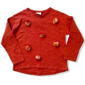Zara Girls   Lightweight Pom Pom Sweatshirt (9) 🍁